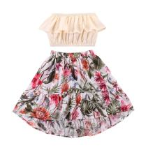 Toddler Girl Dresses Infant Girls Ruffle Off Shoulder Tube Tops Shirts + Long Skirts Summer Outfits Set