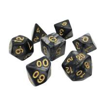 Marbled 7 Piece Polyhedral DND Dice Set by D20 Collective Dice for Table Top Dungeons and Dragons RPGs and Gaming
