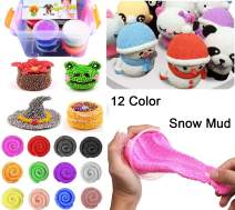 HenMerry Fluffy Slime Snow Mud Slime Kit,12 Colors DIY Novelty Toy Slime Mud Toy Light Weight Clay Modeling Clay with 3 Model Tools,for Kids & Adults Gift