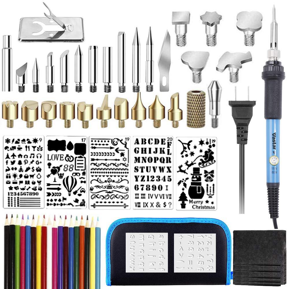 Vastar 48pcs Wood Burning Kit - Soldering Iron, Temperature Adjustable with Wood Burning Pen + Embossing/Carving/Soldering Tips, 5 Stencils,12 Pencils,Stand & Sharpener (Blue)