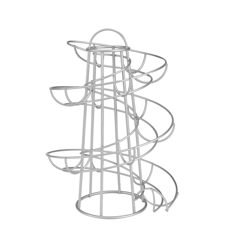 Flexzion Egg Skelter Deluxe Modern Spiraling Dispenser Rack (Medium) - Chrome Plated Freestanding Wire Chicken Egg Storage Organizer Display Holder Basket for Countertop Kitchen, Silver