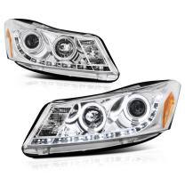 [For 2008-2012 Honda Accord Sedan] LED Halo Ring Chrome Projector Headlight Headlamp Assembly, Driver & Passenger Side