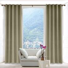 Macochico Luxury Linen Textured Curtains Antique Bronze Grommet Room Darkening Drapes Panels Window Curtain Drapes for Living Room Front Doors Taupe Grey 100W x 96L(1 Panel)