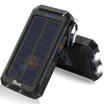 Solar Charger, F.Dorla 20000mAh Solar Power Bank for Camping Outdoor, with 2 Led Flashlight and 2 USB Output Ports, Portable Solar Battery Charger for Cell Phone (iPhone Ipad Android)