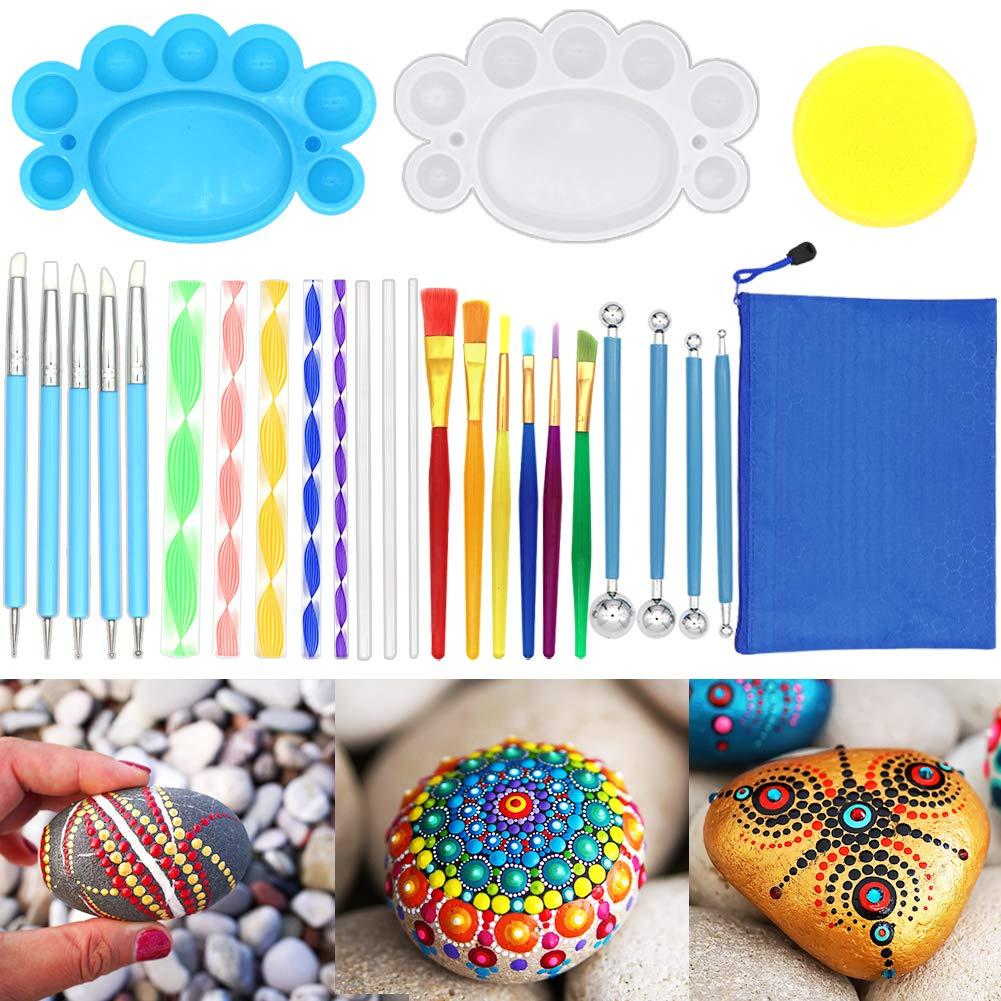 Mandala Dotting Tools, Angela&Alex Mandala Painting Tool Kits Brushes Paint Tray for Painting Rocks Coloring Drawing and Drafting Art Supplies