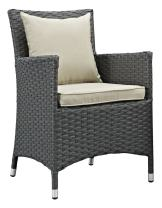 Modway EEI-2242-CHC-BEI-SET Sojourn Wicker Rattan Outdoor Patio Sunbrella Two Dining Chairs Canvas Armchairs, Antique Beige