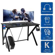 """YODOLLA 42.5"""" Gaming Desk K-Shape Gaming Table Home Computer Desk with Cup Holder and Headphone Hook Gamer Workstation Game Table"""