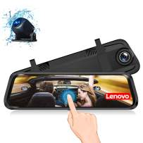 Lenovo Mirror Dash Cam, Backup Camera 9.66 Inch Mirror Dash Screen, 1080P Cam Touch Full Screen Rearview Front and Rear Dual Lens, Waterproof Full HD Camera Touch Screen HR06A