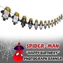 AERZETIX Spiderman Birthday Decorations Black & Gold Happy Birthday Photo Banner for Newborn Baby / Children Photograph Picture Birthday Party Decoration