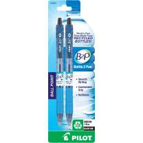 PILOT B2P - Bottle to Pen Refillable & Retractable Ball Point Pen Made From Recycled Bottles, Medium Point, Black Ink, 2-Pack (32805)