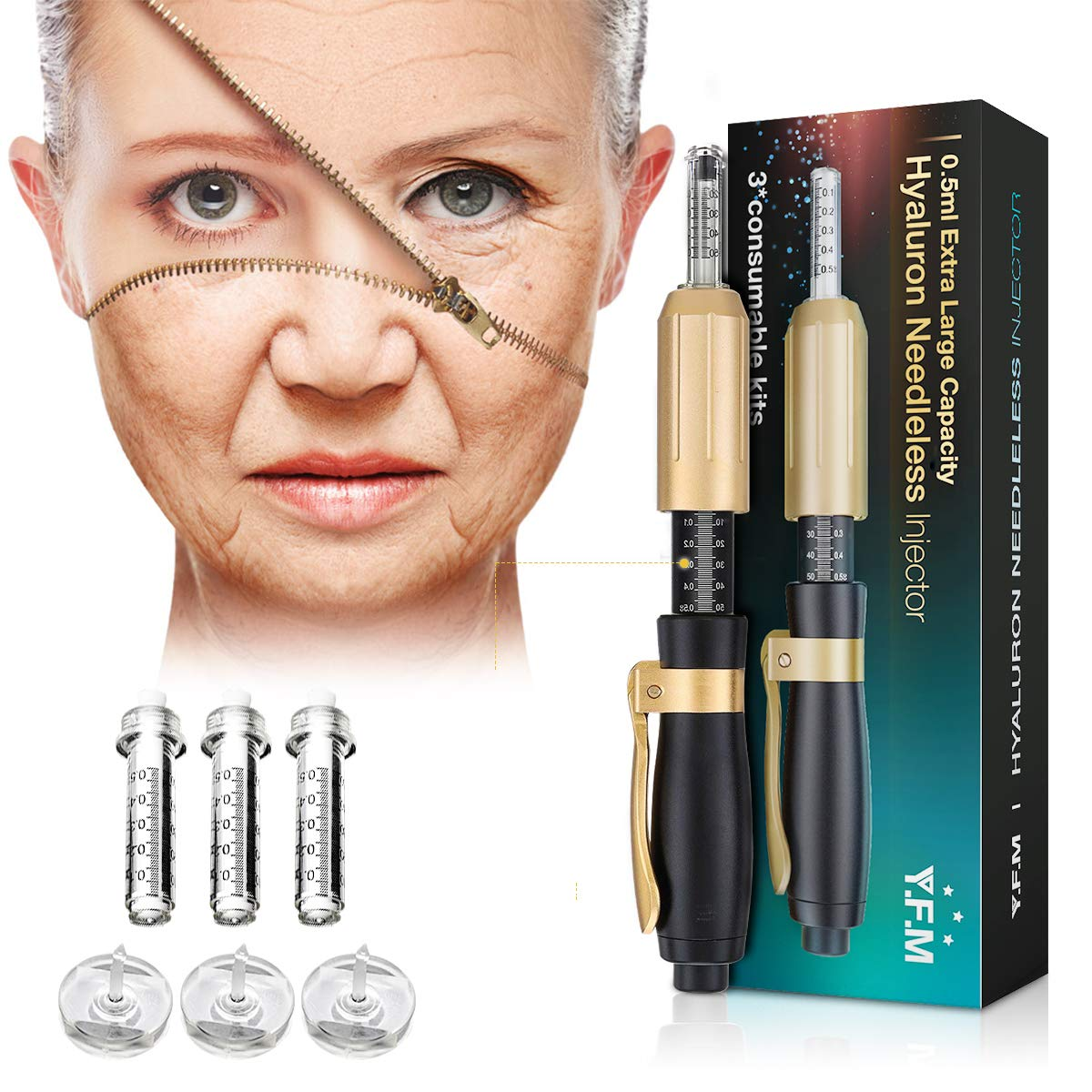Hyaluron Pen, YFM Hyaluron Pen with 3pcs Ampoule Heads, Help to Reduce Blemishes and Wrinkles, Restore Skin Elasticity
