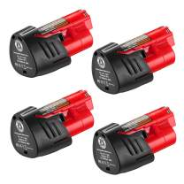 Powerextra 4Pack M 12 3.0Ah Replacement Battery for 12V M12 Lithium Ion Battery XC 48-11-2420 48-11-2440 48-11-2402 48-11-2411 48-11-2412 Cordlees Power Tools
