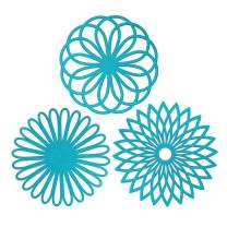 Silicone Trivet Mat, IPHOX Set of 3 Multi-Use Intricately Carved Hot Pot Trivets for Hot Dishes, Kitchen Mats, Table Mats, Insulated Flexible Non-Slip & Heat Resistant Hod Pads and Coasters (Blue)