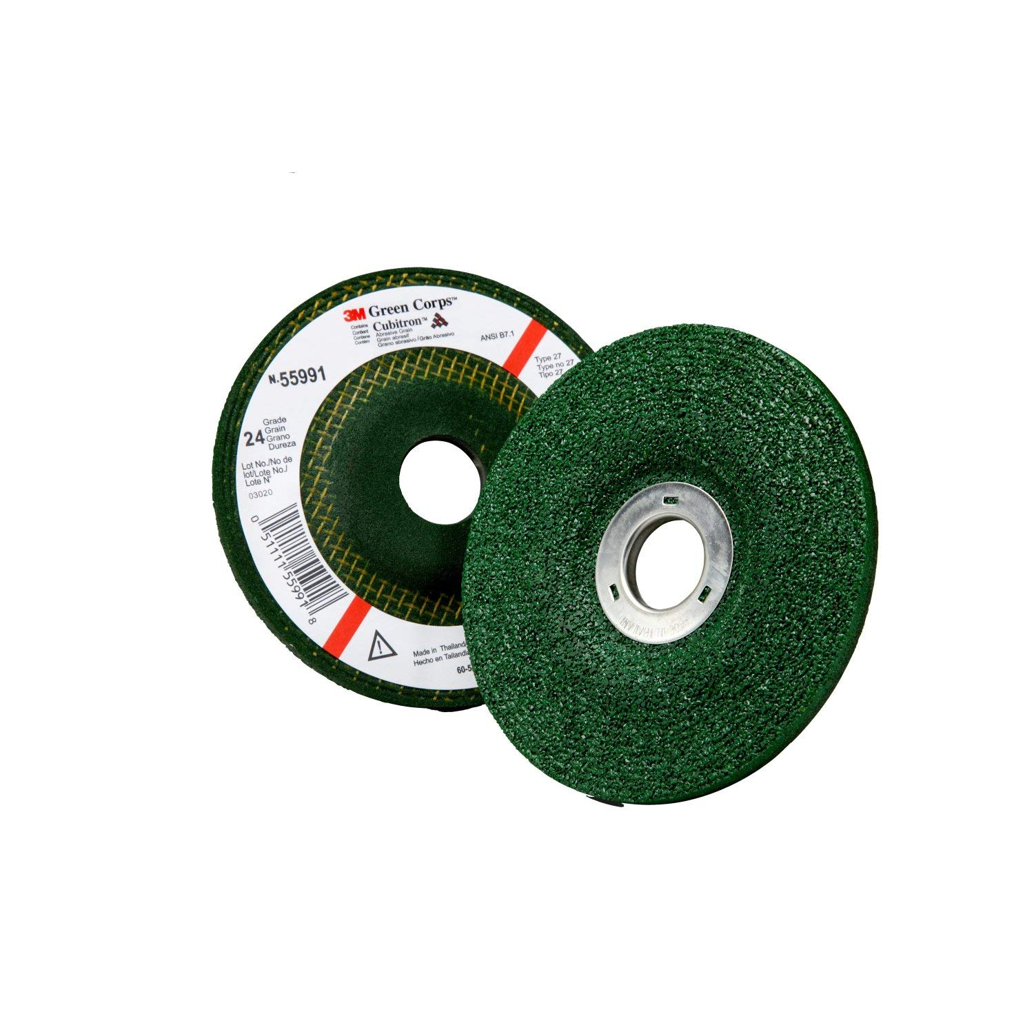 3M Green Corps Depressed Center Grinding Wheel, 24 4-1/2 in x 1/4 in x 7/8 in, 10 per Carton