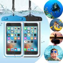 """Topwey Waterproof Phone Pouch, 2 Packs Universal Large Waterproof Phone Case for iPhone 11 Pro Max Xs Max Xr x Galaxy S10 S9 up to 6.5"""", Cell Phone Waterproof Pouch for Swimming Pools Diving Boating"""