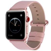 Fullmosa Compatible Apple Watch Band 42mm 44mm 40mm 38mm Leather Compatible iWatch Band/Strap Compatible Apple Watch SE & Series 6 5 4 3 2 1, 42mm 44mm Soft Pink + Rose Pink Buckle