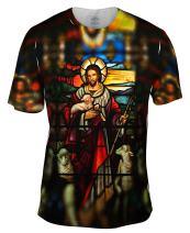 "Yizzam- ""St Johns Ashfield Stained Glass Good Shepherd -Tshirt- Mens Shirt"