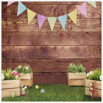 Allenjoy 8x8ft Fabric Spring Easter Backdrops for Girls Photography Wrinkle Free Happy Bunny Rabbit Green Grass Brown Wooden Wall Baby Shower Kids Newborn Portrait Background Photo Studio Shooting