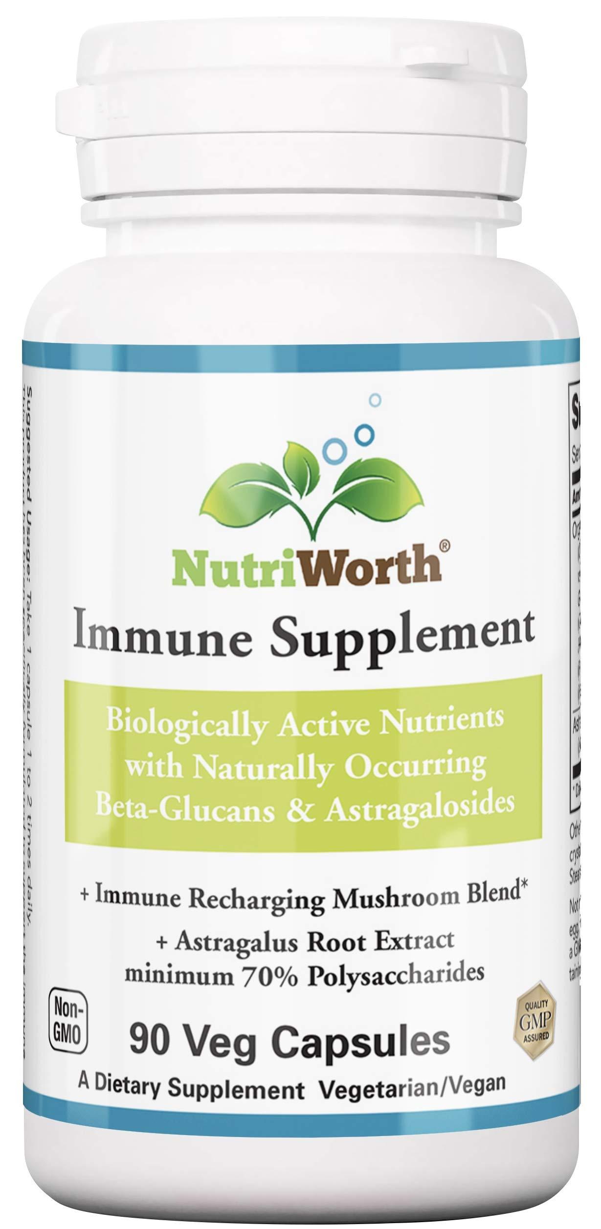 Immune Support Supplement by NutriWorth - Immune Recharging Organic Mushroom Blend - Lions Mane, Shiitake, Cordyceps, Reishi, Turkey Tail, Maitake, Phellinus Linteus with Astragalus Root Extract