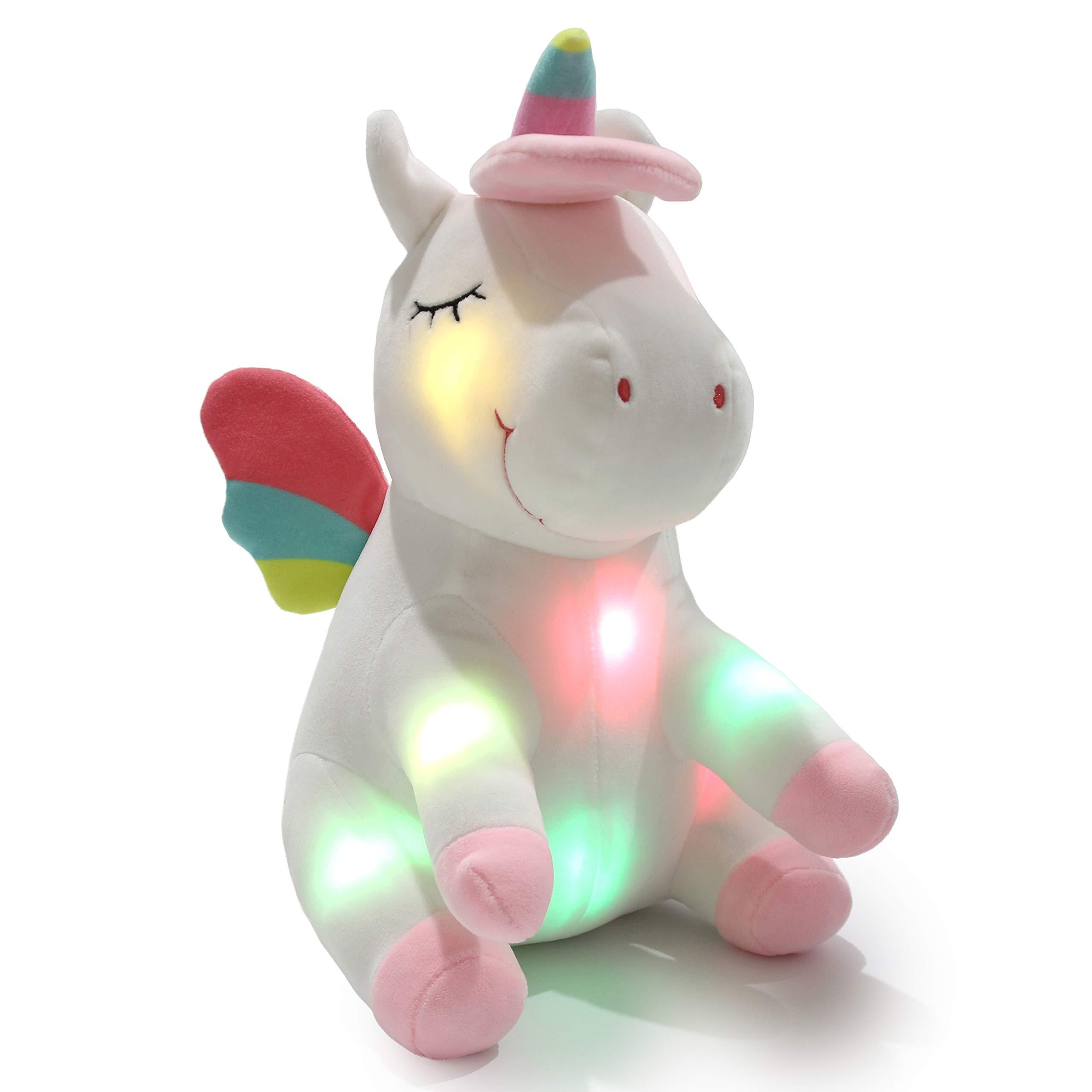 Athoinsu Light up Unicorn Soft Plush Toy LED Stuffed Animals with Colorful Night Lights Glowing Birthday for Toddler Girls Women, 12''