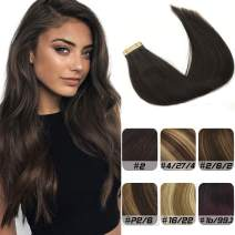 Labhair Tape in Hair Extensions Human Hair Straight 100% Unprocessed Virgin Remy Human Hair Darkest Brown Color #2 Seamless Skin Weft Tape In Hair Extensions 16inch 50g/20pcs