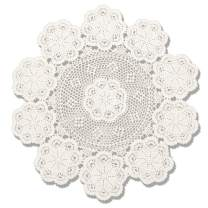 KEPSWET 40 inch Round Beige Crochet Lace Floral Tablecloth Handmade Cotton Coffee Table Party Decor Table Overlay