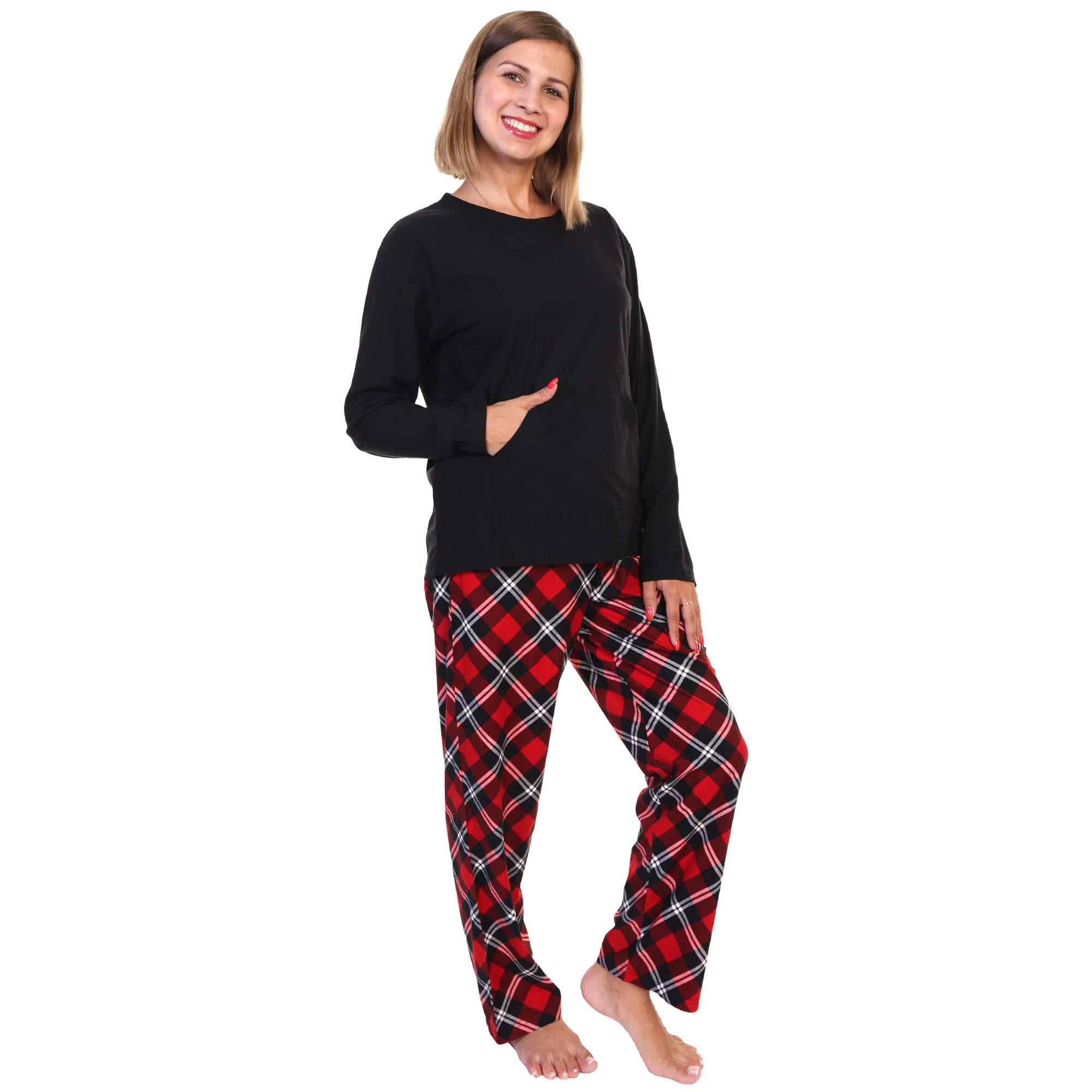 Angelina Women's Kangaroo Pocket Shirt Top with Flannel Pants Pajama Set