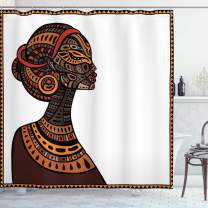 """Ambesonne African Shower Curtain, Exotic Beauty Woman with Traditional Totem Illustration, Cloth Fabric Bathroom Decor Set with Hooks, 70"""" Long, Brown and Cinnamon"""