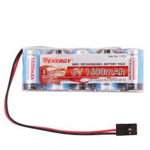 Tenergy Receiver Battery, 6V NiMH Rechargeable RC Battery Pack with Hitec Connector, 1600mAh High Capacity Side by Side 5C Flat RX Battery for RC Vehicles