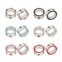 TOPBRIGHT 6 Pairs Rhinestone Crystal Screw Surgical Steel Tunnels Ear Expander Plugs Piercing Gauges