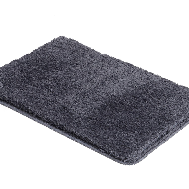 Shaggy Bathroom Rugs, HAOCOO Luxury Bath Shower Mat Non-Slip Water Absorbent Machine-Washable Carpet Soft Microfiber Bath Floor Rug for Doormats Tub (21x34 inch, Dark Gray)