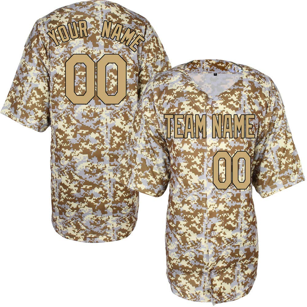 Pullonsy Camo Salute to Service Game Custom Baseball Jersey for Men Women Youth Stitched Name & Numbers S-8XL,Design Your Own