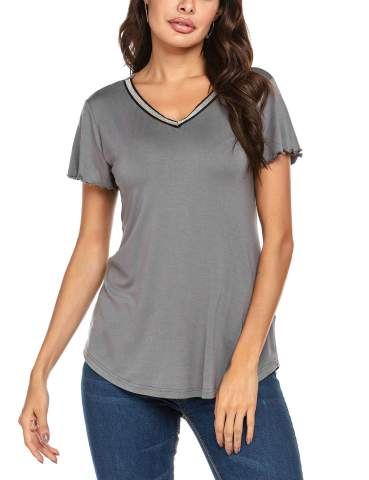 Wildtrest Womens Casual Short Sleeve Crew Neck Loose Pleated Chiffon Blouse