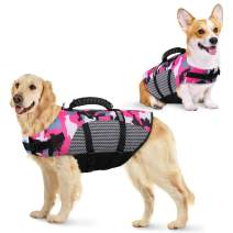 KOESON Dog Life Jacket Ripstop Pet Safety Life Vest, Adjustable Dogs Lifesaver Vest with Enhanced Buoyancy and Rescue Handle, Camouflage Swimsuit Preserver for Small Medium and Large Dogs (Pink, XL)