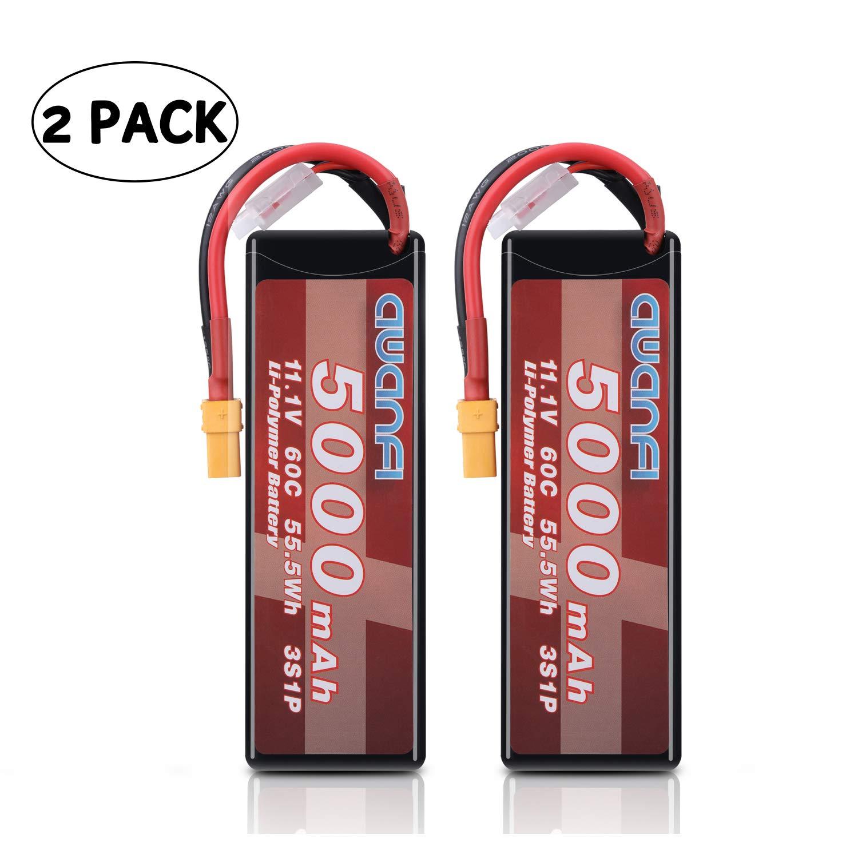 AWANFI 3S Lipo Battery 11.1V 5000mAh 60C RC Battery Pack with XT90 Plug for RC Cars Truck Boat Airplane Traxxas Slash(2 Packs)