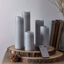 Lights4fun, Inc. Set of 5 Gray Wax Battery Operated Flameless LED Slim Pillar Candles with Remote Control