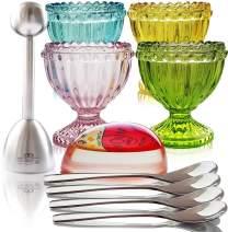 NobleEgg Antique Style Egg Cups for Soft Boiled Eggs | Set of 4 | Egg Timer Pro | 18/10 Egg Spoons | Egg Topper | Premium Gift/Storage Box