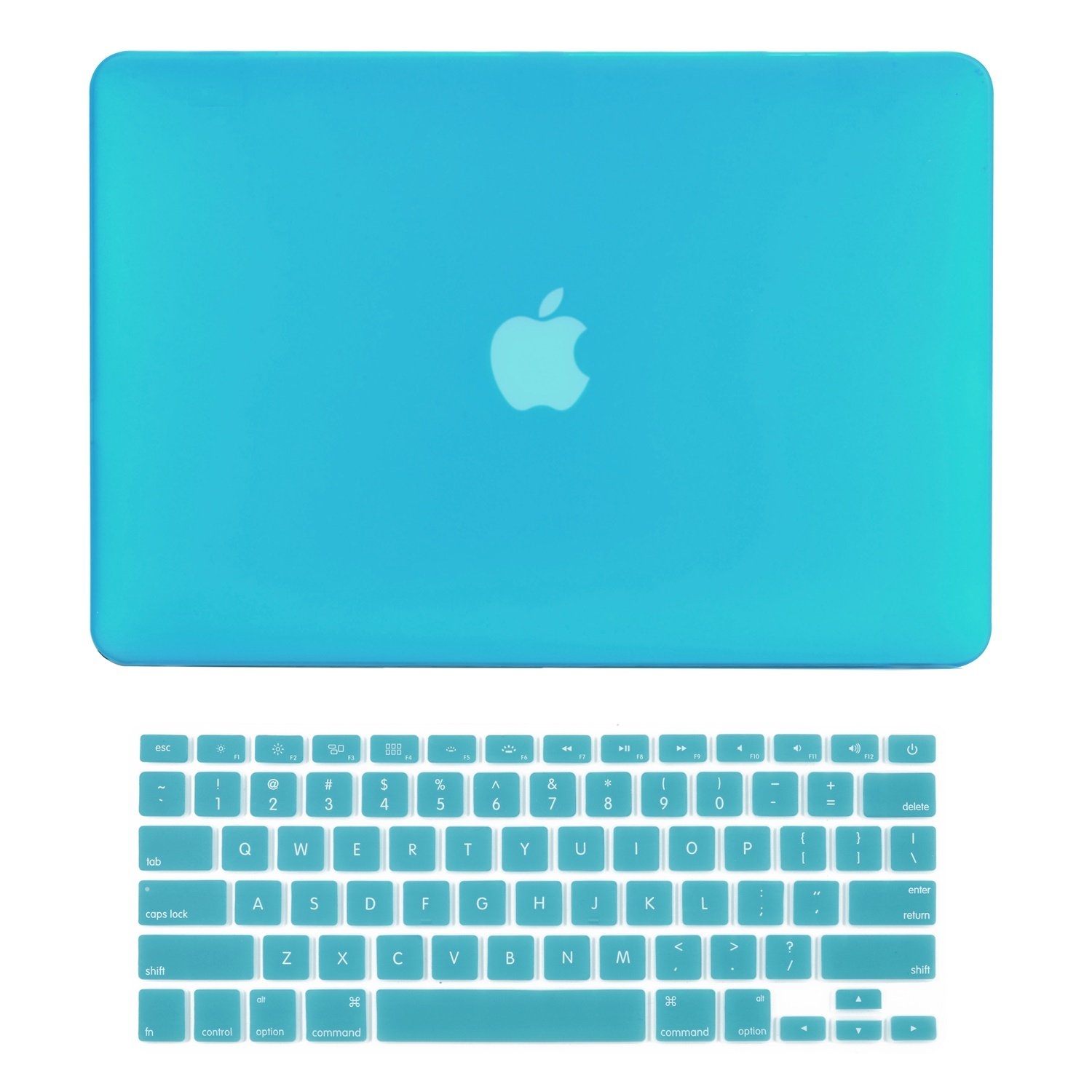 """TOP CASE - 2 in 1 Signature Bundle Rubberized Hard Case and Keyboard Cover ONLY Compatible MacBook Air 13"""" A1369 & A1466 (Older Version, Release 2010-2017) - Aqua Blue"""