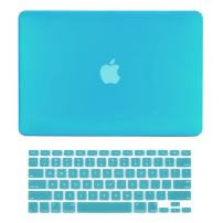 "TOP CASE - 2 in 1 Signature Bundle Rubberized Hard Case and Keyboard Cover ONLY Compatible MacBook Air 13"" A1369 & A1466 (Older Version, Release 2010-2017) - Aqua Blue"