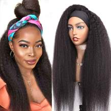 Goldfinch Headband Wig Kinky Straight Human Hair Wig Italian Yaki Headband Wig for Black Women 150% Density Glueless None Lace Wig with Scarf Easy to Wear 18 Inches