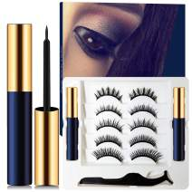 Magnetic Eyelashes With Magnetic Eyeliner Kit, Double Large Capacity Eyeliner, Strong Magnetism, Reusable and Cuttable, Waterproof and Smudged Free Eyeliner, Natural Glamorous Looking For All Occasion