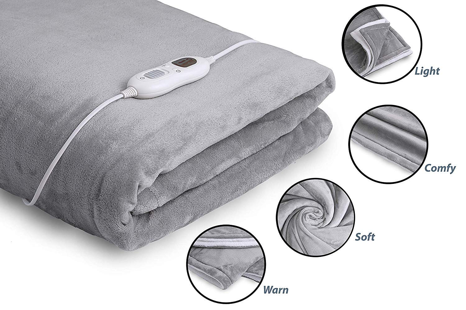 """InvoSpa Electric Throw Heated Blanket - 50"""" x 60"""" Flannel & Sherpa Fast Heating Blanket, with 3 Heating Levels, 8 Hours Auto Off - Electric Blanket, Heated Mattress Pad - Machine Washable"""