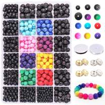 Dushi Lava Bead Kit Black Rock Stone Beads Set for Jewelry Making Supplies Colored Lava Beads Spacer Beads for Essential Oils with 2 Crystal Elastic Strings Total 1142pcs (1142 pcs Lava Bead kit)