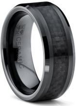8MM Flat Top Men's Black Ceramic Ring Wedding Band with Black Carbon Fiber Inlay Sizes 5 to 15