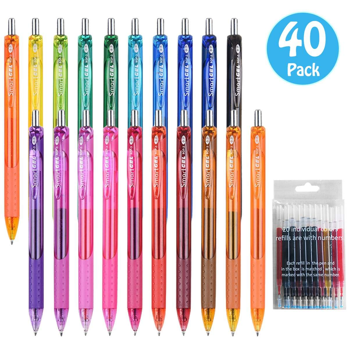 40 Pack Gel Pens Set, 20 Colored Gel Pens With 20 Matched Refills, Medium Point Retractable Gel Ink Pens With Comfortable Grip, Great for Journal Notebook Planner in School Office by Smart Color Art