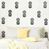 "Set of 20 Vinyl Wall Art Decal - Pineapples - 7"" x 4"" Each - Trendy Modern Summer Theme Home Bedroom Living Room Dorm Room Apartment Office Workplace Playroom Nursery Decor (Black, 7"" x 4"" Each)"