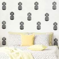 "Set of 20 Vinyl Wall Art Decal - Pineapples - 7"" x 4"" Each - Trendy Modern Summer Theme Home Bedroom Living Room Dorm Room Apartment Office Workplace Playroom Nursery Decor (Black, 7"" x 4"" Each)"