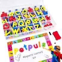 PETRIP Magnetic Alphabet Letters - 238 PCS Refrigerator ABC Magnets for Educating Kids with Magnetic Board - Toddlers Preschool Learning Toys (Colorful Magnetic Letters)