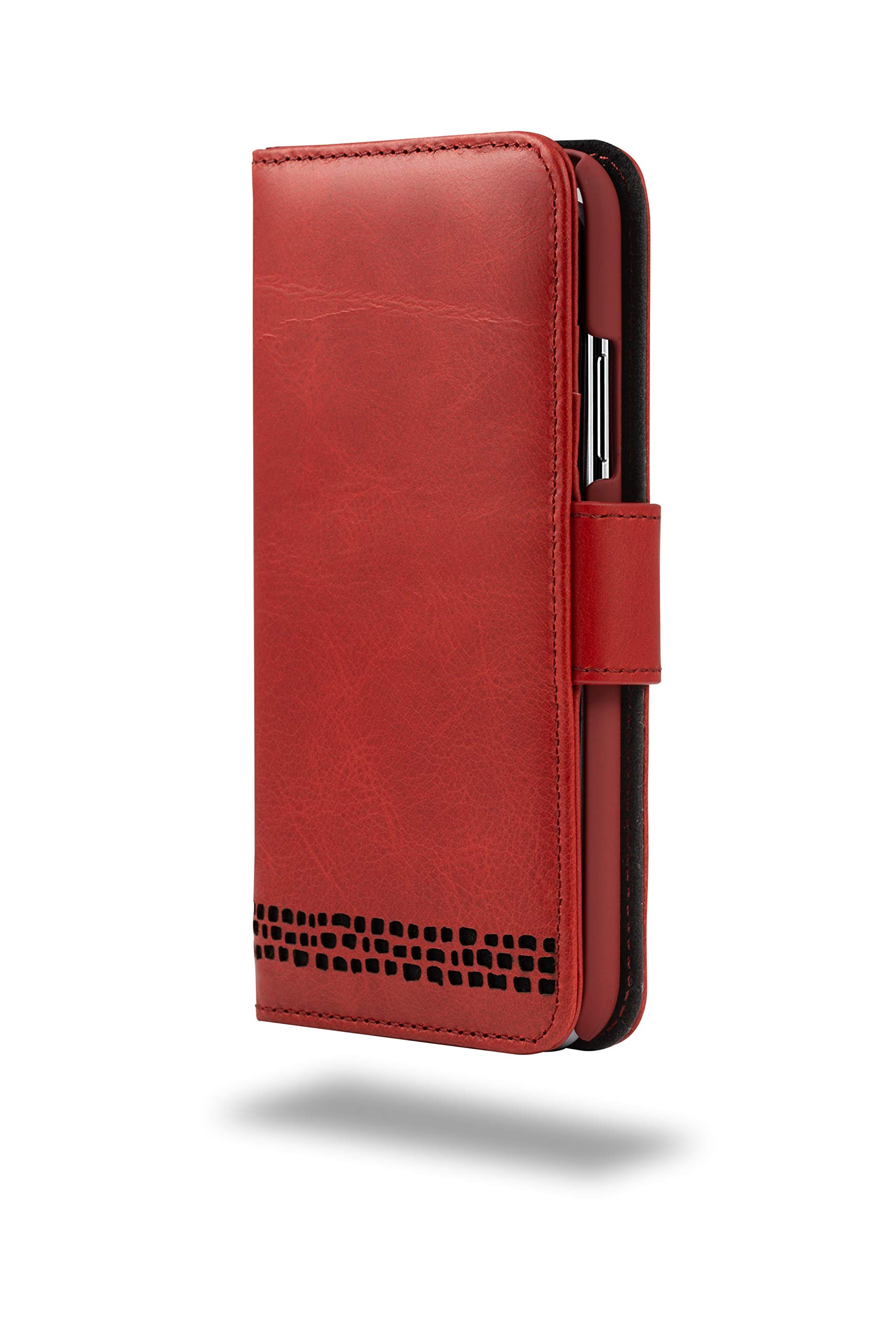 iPhone 7 Case – Ed Hicks iPhone 7 Leather Case – Genuine Leather – Luxury Folio Wallet Flip – Card Slots – Bill Pocket– Double Shield – Color Matched Phone Holder. Vintage RED with Black Detailing