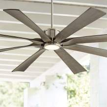 """70"""" The Defender Modern Outdoor Ceiling Fan with Light LED Dimmable Remote Control Brushed Nickel Light Wood Blades Damp Rated for Patio Porch - Possini Euro Design"""